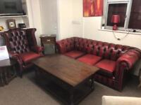 Oxblood chesterfield suite * free furniture delivery *