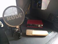 Rode nt1-a Condenser Microphone with Scarlett 2i2 USB interface and Mic Stand