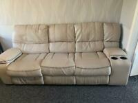 3 Seater leather sofa beige/White with recliner - MUST GO