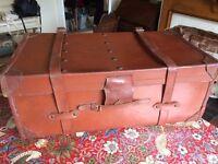 Vintage Leather Steamer Trunk