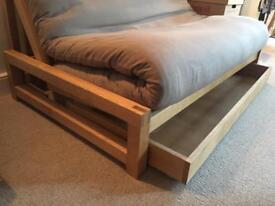 Solid oak double futon bed (Original Futon Company)