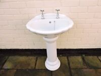 White porcelain sink and pedestal complete with taps etc, immaculate condition