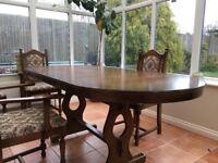 Tudor Style Extending Oak Dining Table