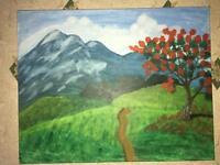 Handmade, Art, hill, flower, tree