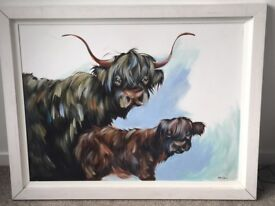 ORIGINAL ELAINE JOHNSTON HIGHLAND COW AND CALF OIL PAINTING ON CANVAS - 116cm X 91cm
