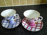 2 Unusual cups and sausers.