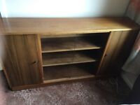 Teak low display cabinet with glass