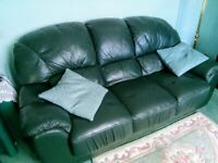 leather 3 seater settee- as new!