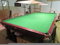 Full-size snooker table, vintage E J Riley, good condition, ex club including many accessories