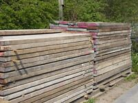 used scaffold batons, 2.4 metres long, 225mm wide and 60mm thick
