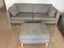 IKEA Karlstad Isunda Grey 3 Seat Sofa with cushions and foot stool