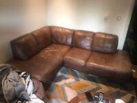 Leather brown corner sofa vintage look