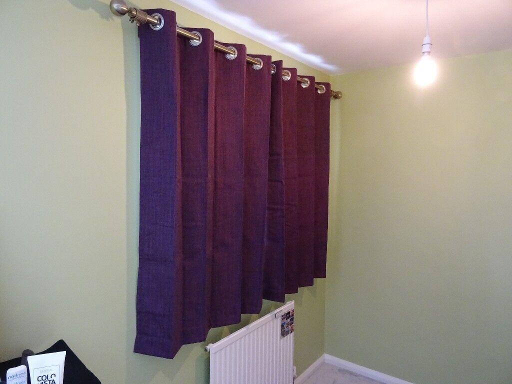 Plum/aubergine/purple eyelet blackout curtains, width 116cm, drop 137cm