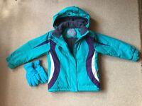 Girls Parallel ski jacket & gloves age 5-6
