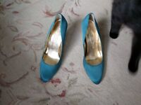Blue satin high heels shoes size 41/7 and a half