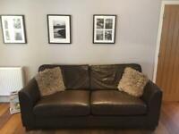 Modern brown leather sofa & chair