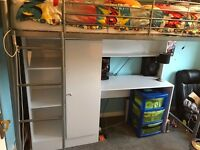 Metal High-Sleeper Bed With Desk & Wardrobe - Perfect condition with instructions
