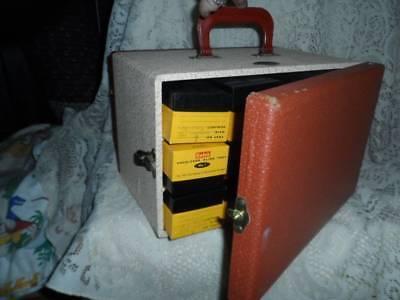 Vntg BAJA Barnett & Jaffe Tweed Hard Case Slide Storage Box w/Metal Kodak Frames