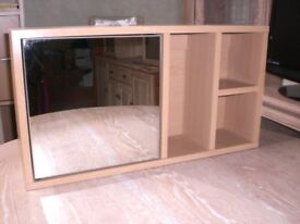 Hanging Mirrored Wall Unit with Shelves