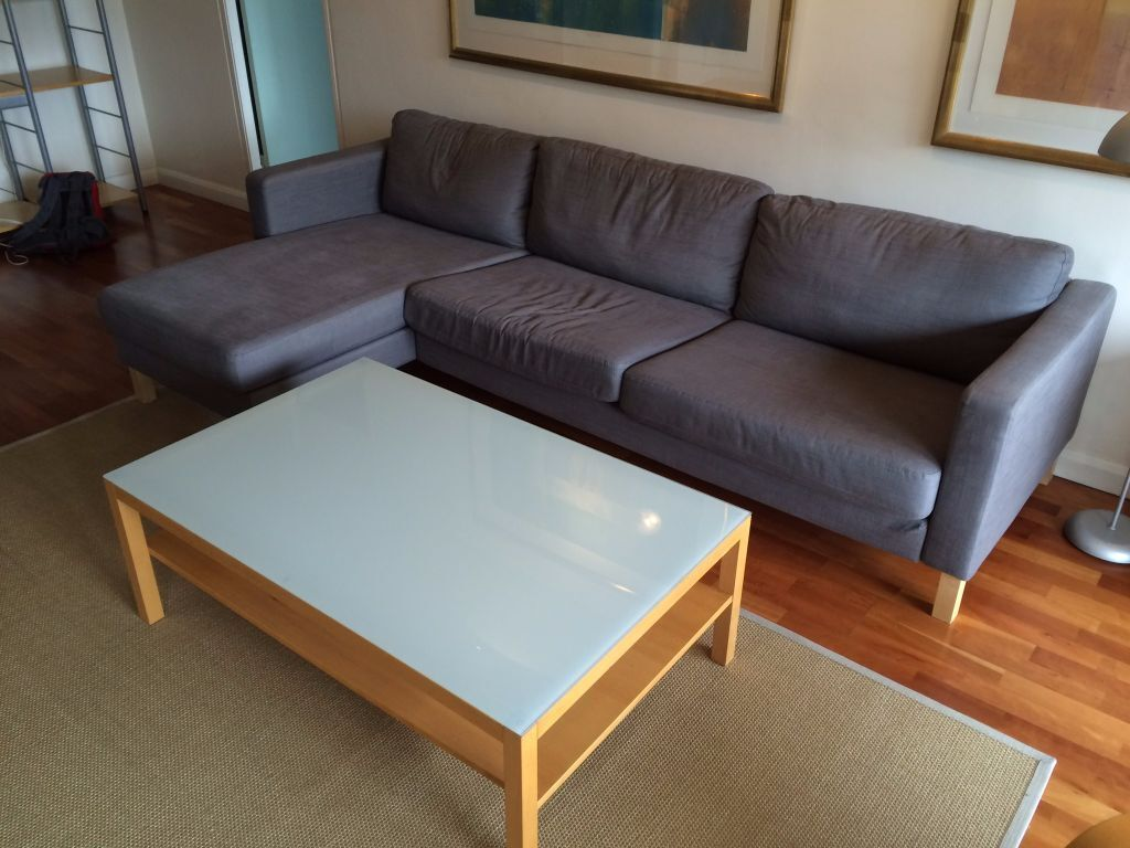 Grey karlstad three seat sofa and chaise longue in city for Chaise longue london