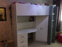 High Sleeper Bed with built in wardrobe