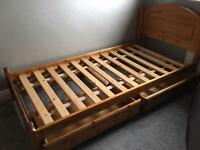 Solid Pine Single Bed, Chest of drawers and bedside cabinet