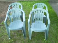 4 x Green Stacking Chairs