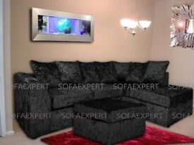 🔥💗🔥🔥BLACK CHAMPAGNE & SILVER🔥💗🔥BRAND New Extra Padded Dylan Crushed Velvet Corner OR 3+2 Sofa