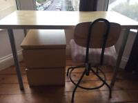 Desk, chair and filing cabinet