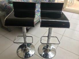 Stylish black and silver bar stools