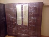 Brown wardrobe with mirrors (assembled)