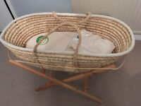 Green Sheep Organic Moses Basket w/ stand, mattress etc