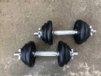 SET OF SOLID BAR DUMBELLS WITH 17KG OF YORK CAST IRON WEIGHTS