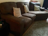 Faux suede corner sofa with matching 2 seater and foot stool