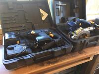 Macallister cordless hammer drill and cordless circular saw.