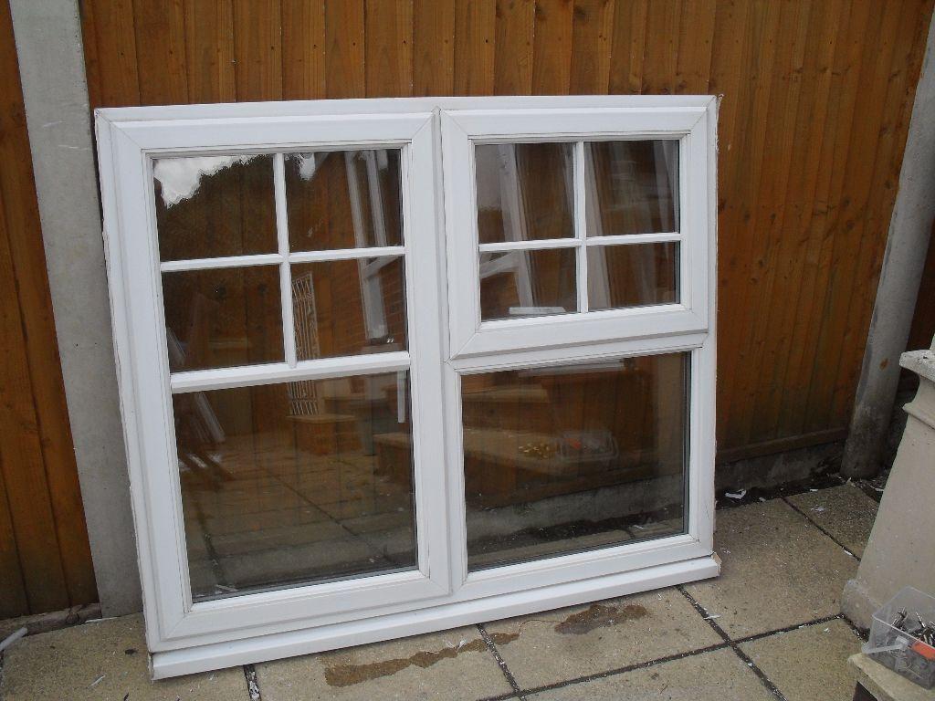 Double White Windows : White upvc double glazed small half cottage bar window