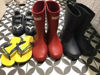Kids shoes, wellies, flip flops all in very good condition