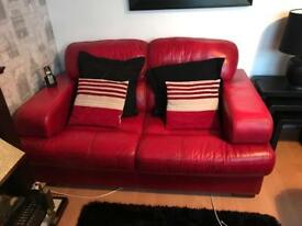 2 & 3 seater red leather suite