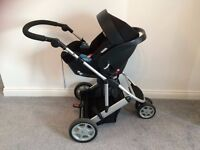 MAMAS AND PAPAS ZOOM TRIO PRAM PACKAGE INCL COT, ISOFIX BASE, ADAPTERS & PUSHCHAIR ATTACHMENT