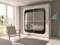 RUMBA Sliding Door German Wardrobe in White/Black/oak Colors