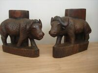 Hand carved water buffalo's from solid pieces.