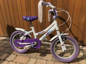 Girls Raleigh Songbird, 14 inch wheels, 4-6 years, VERY GOOD condition (no stabilisers)