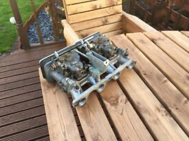 talbot sunbeam/avenger twin weber carbs with manifold and linkage