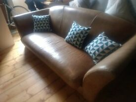 Comfy leather Sofa, three persons, good condition