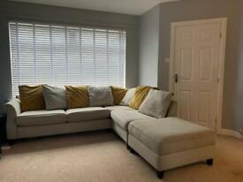 Cream/grey corner sofa