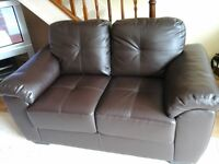Leather 2 seater and 3 seater sofas. Dark brown, as new.