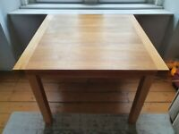 Solid Oak Square Flip-Top Dining Table - 1m x 1m