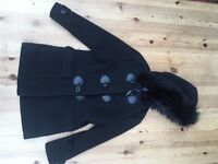 Girls Black Duffle Coat with Fur around Hood Aged 7 - 8 Years