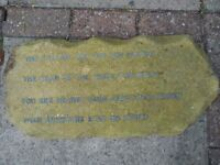 garden decoration stone plaque poem in lead writing