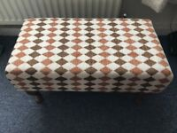 Rectangular foot stool, newly upholstered in lovely fabric